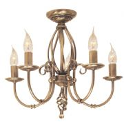 Artisan 5 Light Fitting in an Aged Brass Finish - ELSTEAD ART5 AB